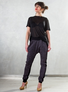 Double-sided pants cheerful check