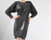 Dress with black leather